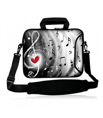 """Colorfulbags Universal Music Note 13 inch Laptop Messenger Bag case 12.5"""" - 13.3"""" Neoprene Messenger Bag - With Handles"""