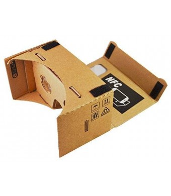 BrizTech Ltd. Google Cardboard 45mm Focal Length Virtual Reality Headset - With Free NFC Tag and Headstrap (Brown)