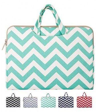 Mosiso - Chevron Hot Blue Canvas Fabric Briefcase Carry Case for 12.9 iPad Pro / 13.3 Inch Laptop / Notebook Computer / MacBook Air / MacBook Pro
