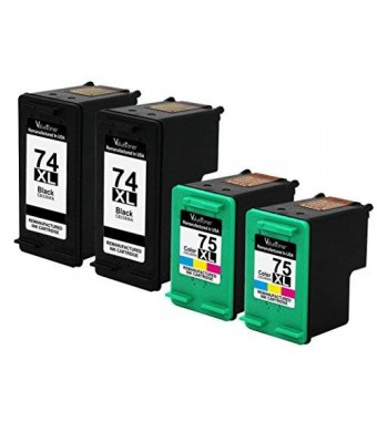 Valuetoner Remanufactured Ink Cartridge Replacement For Hewlett Packard HP 74XL and HP 75XL High Yield CB336WN CB338WN (2 Black, 2 Tri-Color) 4 Pack