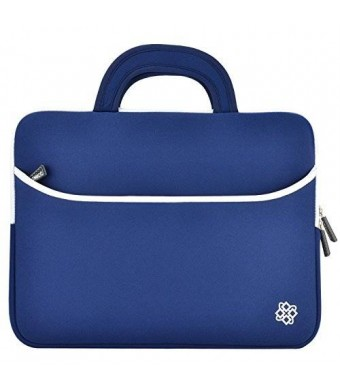 "Kozmicc 13"" 13.3"" Inch Laptop Sleeve Case (Navy Blue/White) w/ Handle"