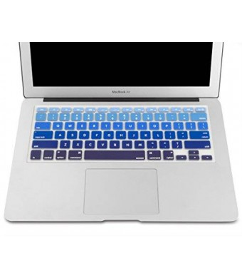 """Mosiso - Keyboard Cover Silicone Skin for MacBook Air 13"""" and MacBook Pro 13"""" 15"""" 17"""" (with or w/out Retina Display) iMac -mix BLUE Ombre"""