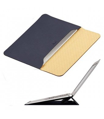 New Macbook 12 inch Case Sleeve with Stand, OMOTON Wallet Sleeve Case for New Macbook 12 inch, Ultrathin Carrying Bag with Stand, Navy Blue