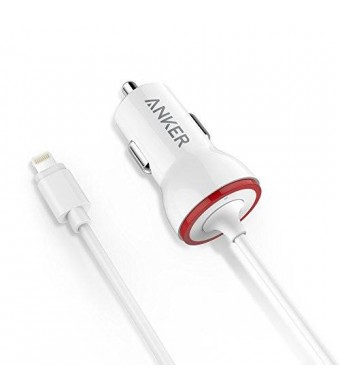 Anker [Apple MFi Certified] PowerDrive Lightning 12W iPhone Car Charger with 3ft Lightning Cable for iPhone 6s / 6 / 6 Plus / 5s / 5