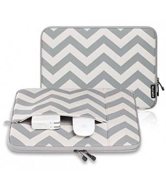 "Runetz - 12-inch Chevron GRAY Neoprene Sleeve Case Cover for MacBook Pro 12"" with Retina Display and Laptop 12"" - Chevron Grey"