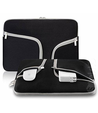 "Steklo - BLACK Neoprene Soft Sleeve Case Bag for All Laptop 15-inch and MacBook Pro 15.4"" with or without Retina Display - BLACK"