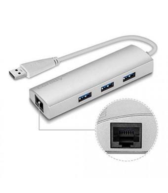 Coredy Aluminum USB 3.0 Hub Superspeed 3 Port with RJ45 10