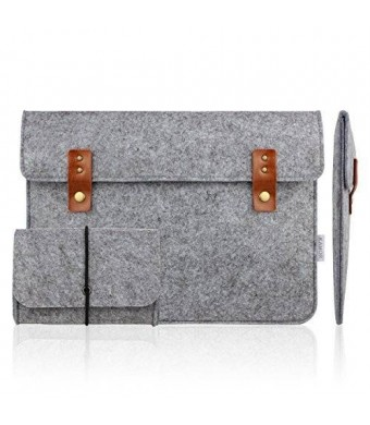Kamor 11 11.6 12 inch Apple MacBook Air Felt Laptop Case with Extra MacBook Charger Case (Vintage Design