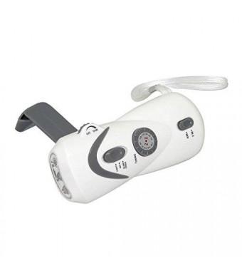 Bear Motion (TM) Self-Powered Hand Crank Dynamo AM/FM Radio with LED Flashlight