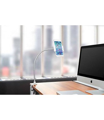 "AboveTEK Heavy Duty Aluminum Gooseneck Tablet Arm iPad iPhone Desk Mount Holder, with 3 Clamps Fit 3.5""~10"" iPad Mini Air iPhone 5 6 6S plus, Solid Base Easy Bend Strong and Flexible Arm, Best Tablet Mobile Phone Desktop Stand for Office Kitchen Bed"