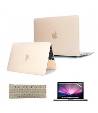 Se7enline 12'' Macbook Case Cover [3 in 1 Bundle] 2015 NEW Matte Hard Shell Clip Snap-on Perfect fit for Macbook 12 inch with Retina Display