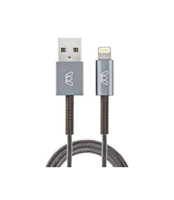 MOS Spring | Lightning Cable - MFi, Aluminum Heads, Steel Spring Relief and Exoskeleton Braided Jacket, Deep Grey, v2.0, 3 ft.