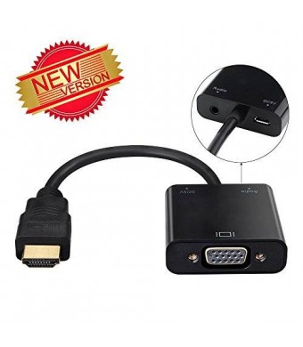 VicTsing Gold-Plated 1080P HDMI to VGA Adapter Video Converter with Micro USB and 3.5mm Audio Port Cable for PC/Laptop/DVD