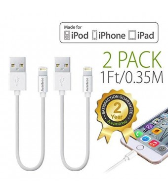 [Apple MFi Certified] Avantree 2 pack Short Lightning Cable 1Ft / 0.35M for iPhone 5 6 6s iPod iPad, High Speed Data Sync and Charge - White