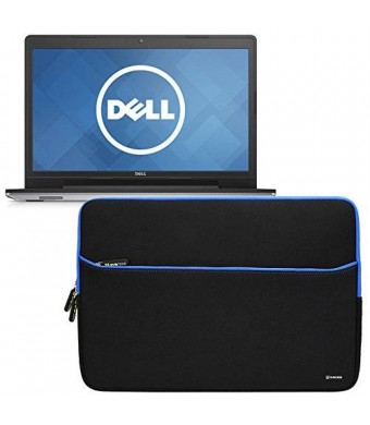 Evecase Dell Inspiron 17 5000 Series 17.3inch Laptop Sleeve, Portable Slim Neoprene Bubble Padded Interior Case Bag w/ Accessory Pocket - Black/Blue