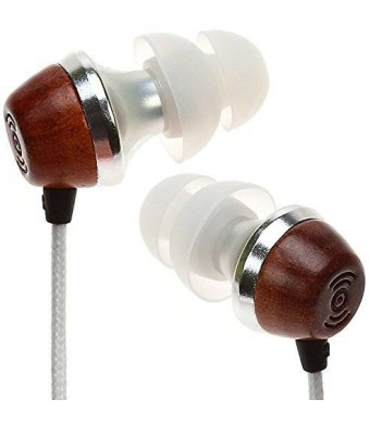 Symphonized ALN Premium Genuine Wood In-ear Noise-isolating Headphones|Earbuds|Earphones with Mic (White)