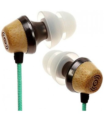 Symphonized ALN Premium Genuine Wood In-ear Noise-isolating Headphones|Earbuds|Earphones with Mic (Turquoise)