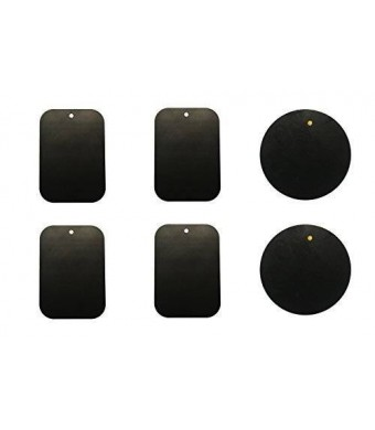 MDW Replacement Metal Plate Kit with Adhesive for Universal Car Magnetic Mount (4 Rectangle and 2 Round)