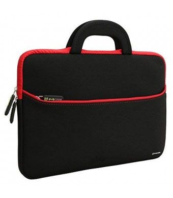 Evecase 13.3-14 inch Slim Portable Neoprene Carrying Laptop Sleeve Case Bag w/ Handles and Accessory Pocket (Black with Red Trim)