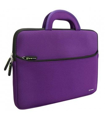 Evecase 13.3-14 inch Slim Portable Neoprene Carrying Laptop Sleeve Case Bag w/ Handles and Accessory Pocket (Purple with Black Trim)