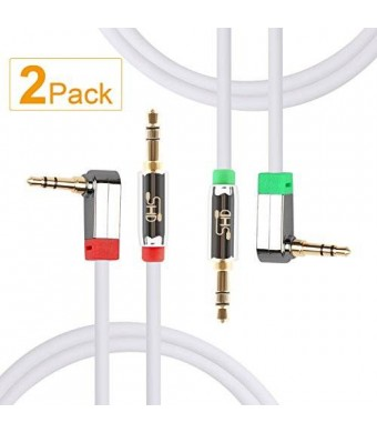 Super High-Definition Super HD 3.5mm Aux Stereo Audio Cable Tangle-Free Slim Cable Angled Male Type Compatible for Car