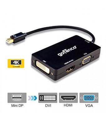 gofanco Mini DisplayPort 1.2 to HDMI/DVI/VGA 4Kx2K 3-in-1 Adapter - Displayport 1.2 compliant. Thunderbolt compatible