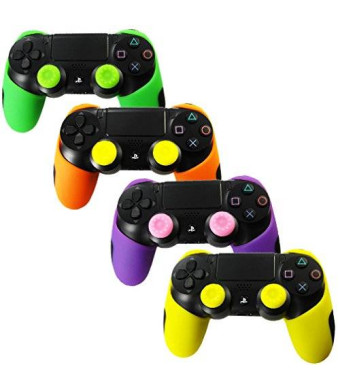 Pandaren Soft Silicone Thicker Half Skin Cover for PS4 Controller Set (skin X 4 + Thumb Grip X 8)(Green, Orange, Purple, Yellow)