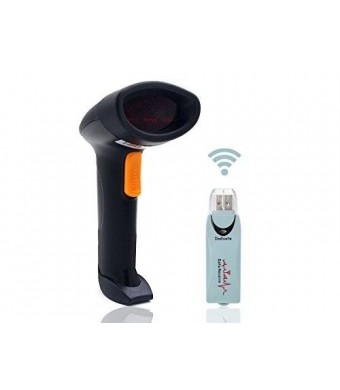 Hi-Eshop 2.4GHz Handheld Wireless USB Automatic Laser Barcode Scanner Reader with USB Recevier Storage of up to 5000 Code Entries for POS PC Latop