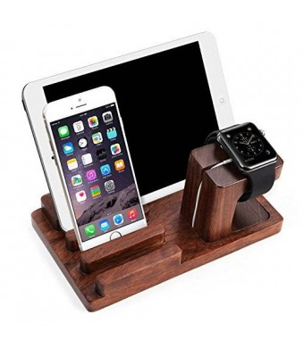 Apple Watch Stand, Aerb Rosewood Charge Dock Holder for Apple Watch and Docking Station Cradle Bracket for iPod iPhone iPad and Other Phones Tablets