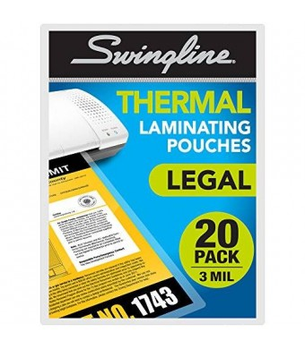 Swingline Thermal Laminating Pouch, Legal Size, Standard Thickness, 20 Pack (3202061)