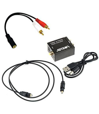 AutoWT Digital Optical Coaxial Toslink Signal to Analog Audio Converter Adapter RCA L