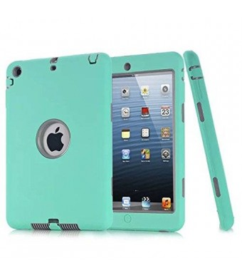 HT Ipad Mini Case, HandT(TM) Unique Silicone Design Soft Ipad Mini 3 In1 Hybrid Shockproof Protective Cover Case for Apple Ipad Mini 3/ 2/ 1 (Teal)