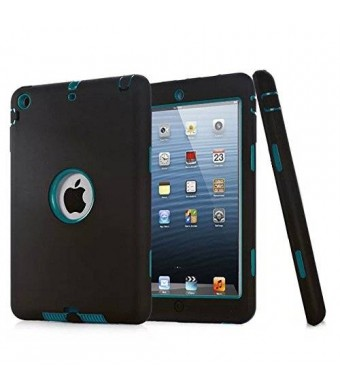 HT Ipad Mini Case, HandT(TM) Unique Silicone Design Soft Ipad Mini 3 In1 Hybrid Shockproof Protective Cover Case for Apple Ipad Mini 3/ 2/ 1 (Black)