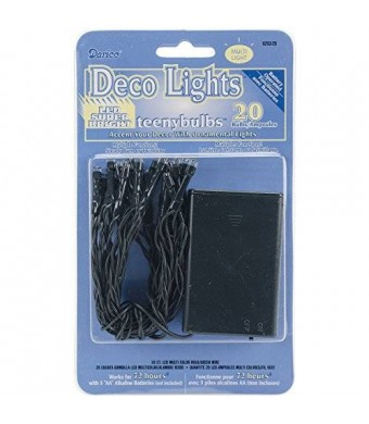 Darice Deco Lights Battery Operated Teeny Bulbs with Green Cord (20 Bulbs), Multicolored