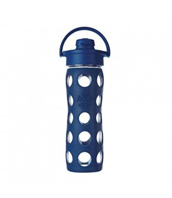 Lifefactory 16-Ounce Glass Bottle with Flip Cap and Silicone Sleeve, Midnight Blue