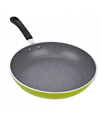 Cook N Home 12-Inch Frying Pan Saute Pan 30cm with Non-Stick Coating Induction Compatible Bottom, Large, Green