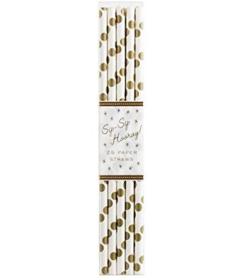 Party Partners 25 Count Paper Straw, Gold Dots