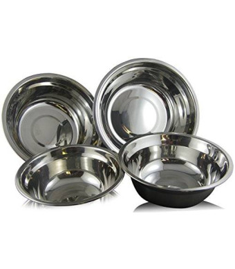 Mixing Bowls, Checkered Chef Stainless Steel Mixing Bowl Set, 4 Metal Prep Bowls.