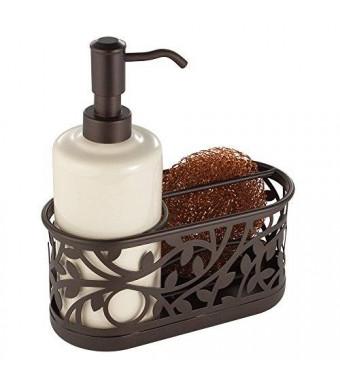 InterDesign Vine Kitchen Sink Soap Dispenser Pump and Sponge Caddy Organizer - Vanilla/Bronze