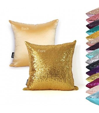 "AMAZLINEN(TM) Home Decor Sequin Throw Pillow Cover Pillow Case 18"" (Gold)"
