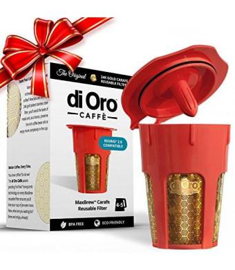 di Oro Caffè MaxBrew 24K Gold Reusable K-Carafe Filter for Keurig 2.0 - Refillable 4-5 Cup Filter for Keurig 2.0: K200