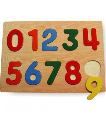Puzzled Inc Kids Playschool Preschool Puzzled Raised Puzzle Small - Numbers Wooden Toys