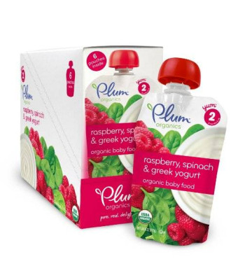 Plum Organics Baby Second Blends, Raspberry, Spinach and Greek Yogurt, 3.5 Ounce (Pack of 12)