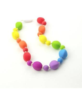 Silicone Oral Sensory Autism Chewable Necklace Child Size 18'' - Bitey Beads (Rainbow)