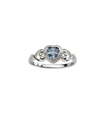 Precious Pieces Sterling Silver Baby Ring and December Birthstone Ring with Blue Topaz CZ