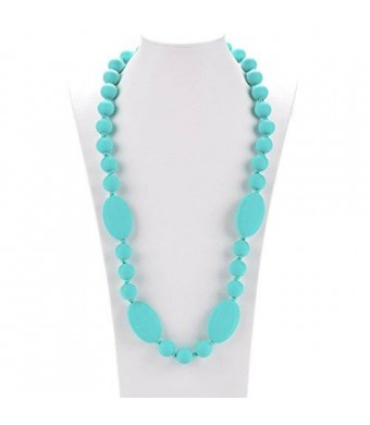 Consider It Maid Silicone Teething Necklace, 30-Inch, Turquoise