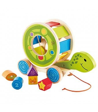 Hape - Walk-A-Long Pull Along Turtle Shape Sorter Toy with 5 Shape Blocks, New Patterns, Colors and Designs (EXCLUSIVE Limited Edition!)