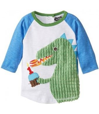 Mud Pie Baby Boys' Dino Birthday Shirt