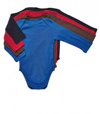 Leveret Long Sleeve 4-pack Solid Baby Boys Bodysuit 100% Cotton (Size 0-24 M)