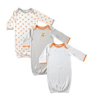 Luvable Friends 2 and 3-Pack Rib Knit Infant Gowns